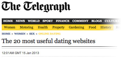 Telegraph Article - The 20 most useful dating websites