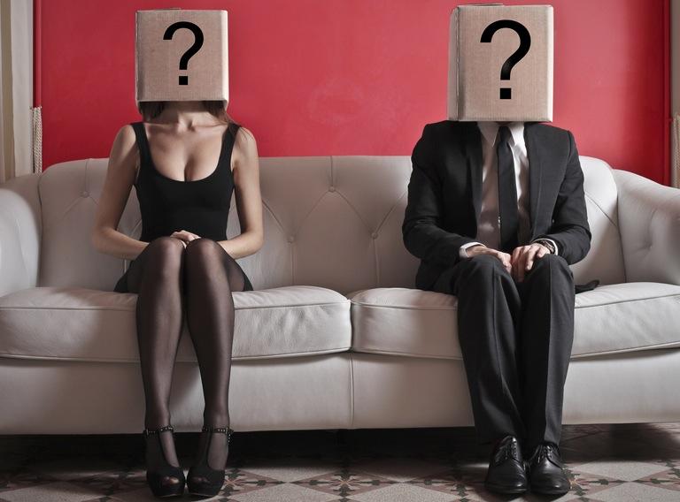 man&woman with ? box on head