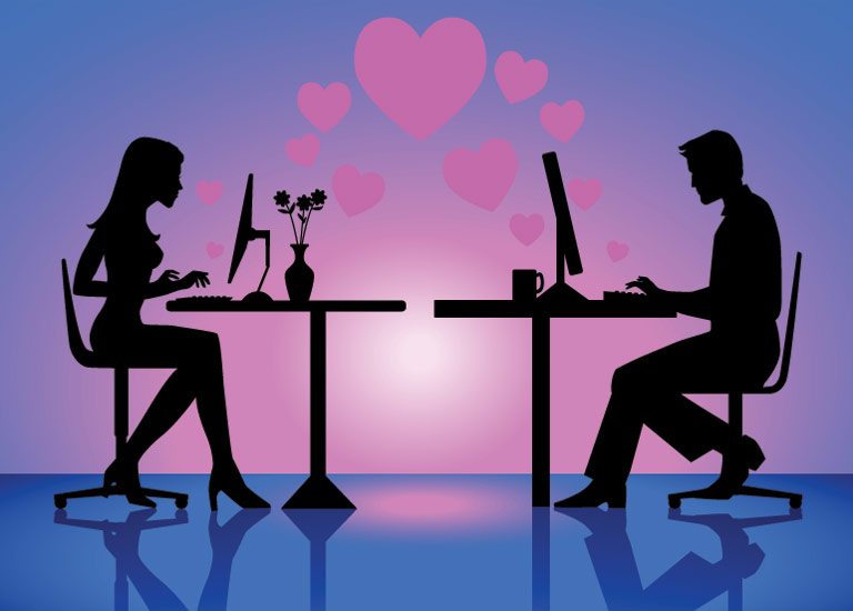 A couple chatting online
