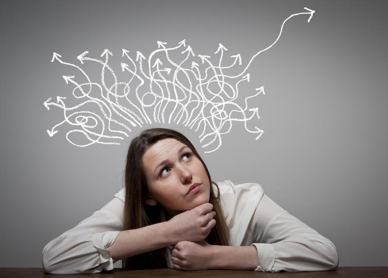Woman thinking:problem solving