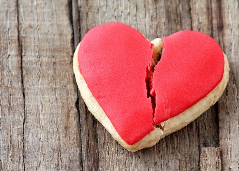 Broken heart shaped biscuit
