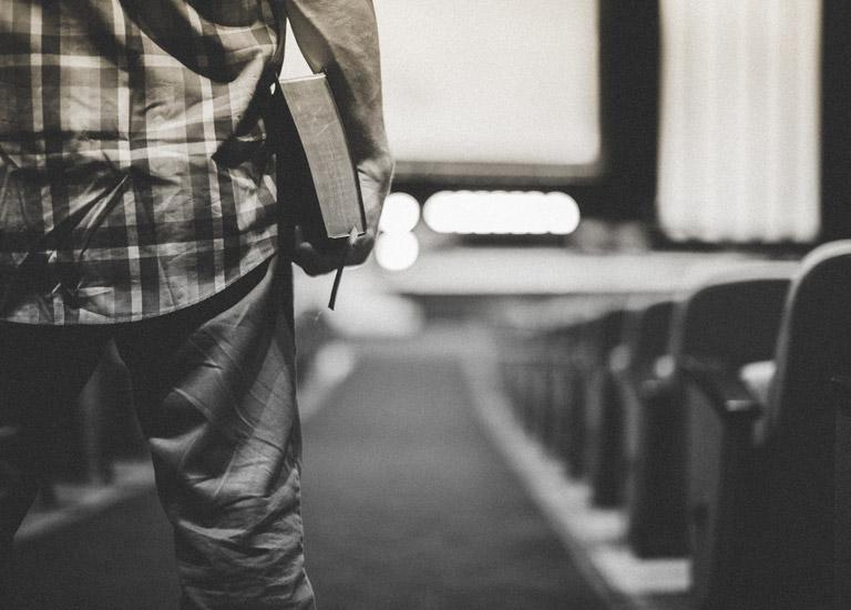 Man standing in church