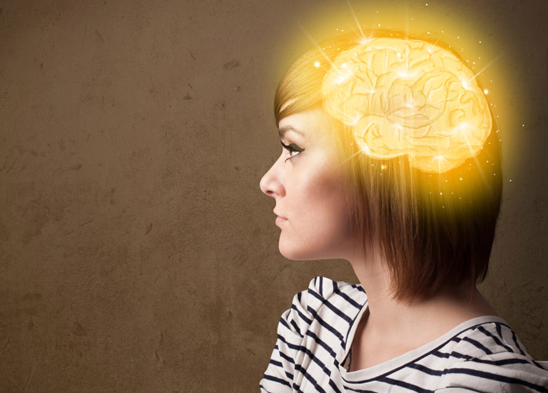 Illustration of a woman with the brain highlighted