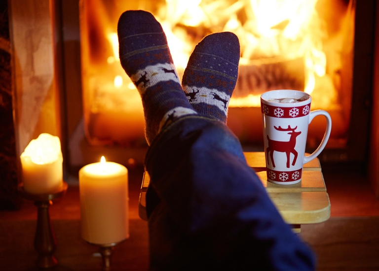 Putting feet up by the fire