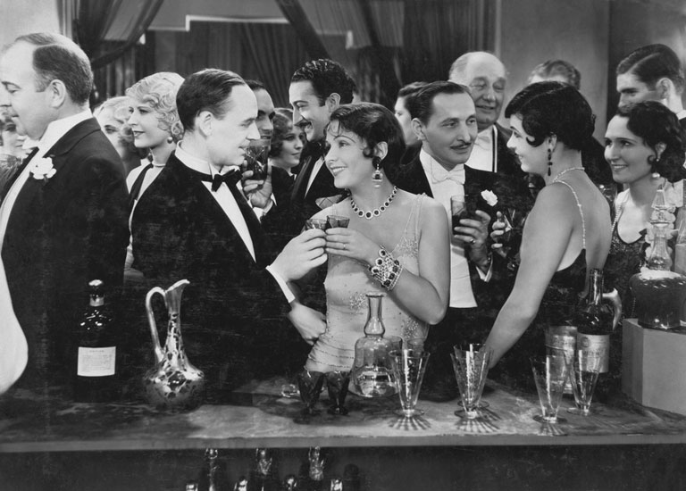 Photograph of a vintage party in black and white