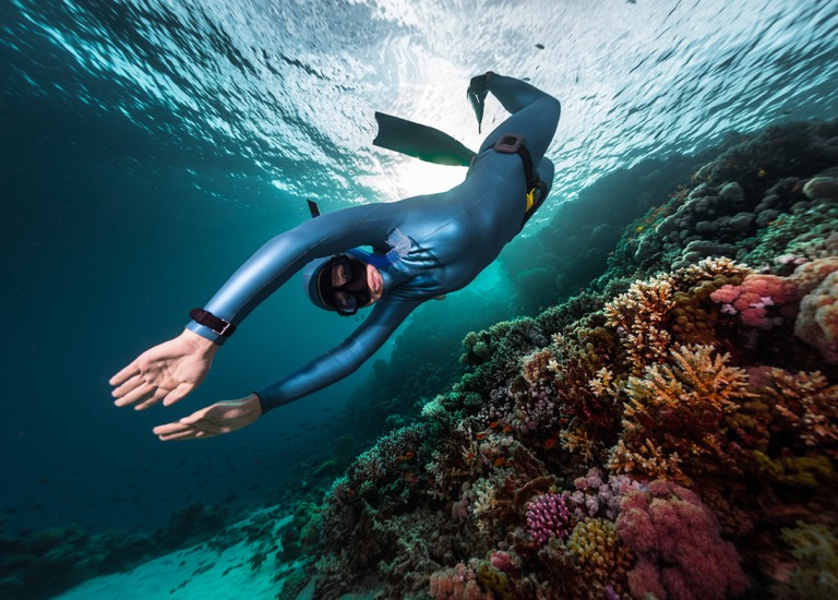 A person diving underwater