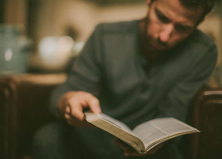 A man reading the Bible