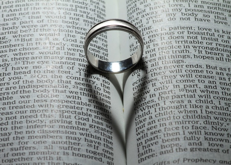 A wedding ring on a Bible