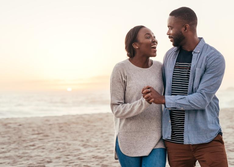 A happy couple on the beach