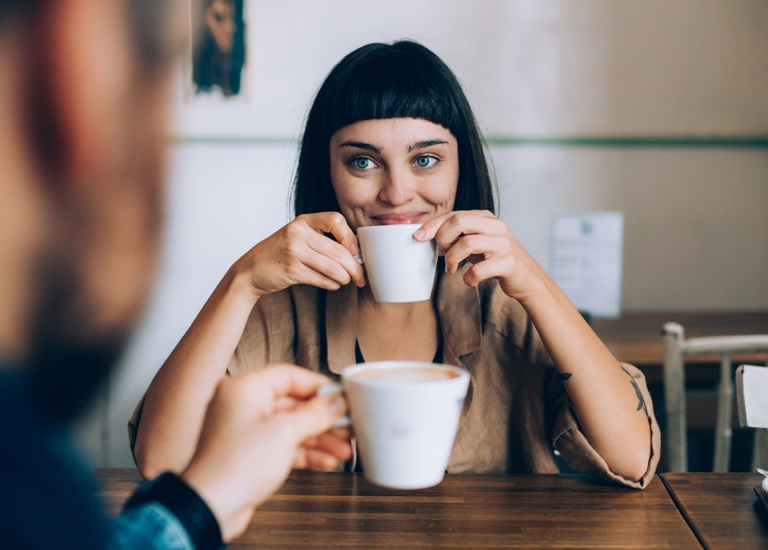 Coffee date, woman smiling