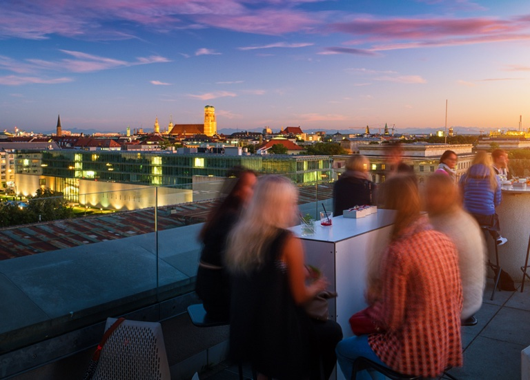 Social event at a rooftop bar