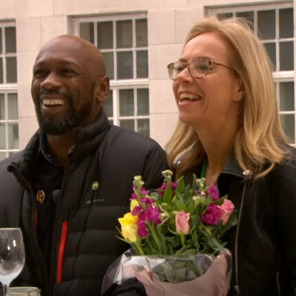 Charlie and Deborah who met during lockdown appear on the BBC