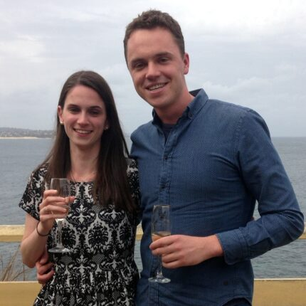 Amy and Daniel celebrate their engagement after meeting on Christian Connection